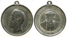 Heidelberg Zinn Universität Heidelberg, auf die 500 Jahrfeier, Friedrich I von Baden / Ruprecht I, geprägt bei C. Drentwett Augsburg, 41,5  tragbare Medaille 1886 vz