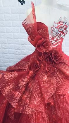 Ravishing red, white or gold sparkle ball gown wedding dress with mid-bodice ruffled flower detail Colorful Prom Dresses, Pretty Quinceanera Dresses, Pretty Dresses, Gown Wedding, Wedding Dresses, Bridal Lehenga Collection, Lace Dress Styles, Filipiniana, Royal Dresses