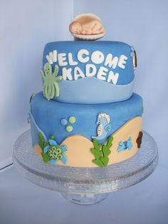 - Made to match Nojo Sea Babies bedding set. All fondant with brown sugar sand.
