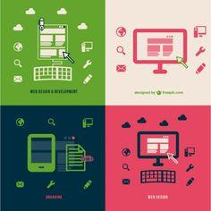 ウェブ開発効率向上のブランディングフラットイラスト 無料ベクター