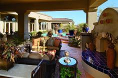 A half indoor, half outdoor living room at Saguaro Estates, Arizona