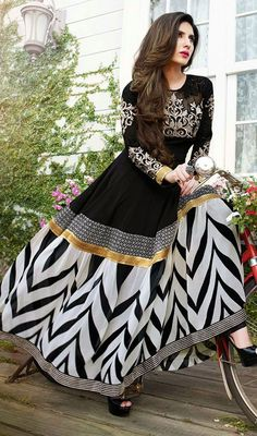 Black and White Georgette Long Anarkali Suit