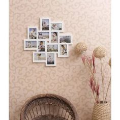 12-opening Wooden Wall White Collage Photo Picture Frame Wall Art , Holds Six 4-by-6-inch and Six 6-by-4-inch Photos