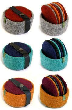 Buy or use as DIY inspiration. Felt Coasters, Diy Coasters, Felt Diy, Felt Crafts, Wet Felting, Needle Felting, Felt Embroidery, Felting Tutorials, Wool Applique