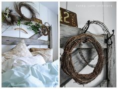 A gate - yes.  A saw horse - yes.  The barbed wire...going a little too far!!  (in the bedroom that is)