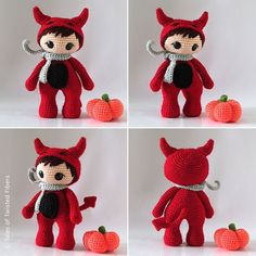 Halloween crochet - The Little Red Devil - free pattern for 7 inch amigurumi. Step-by-step instructions + pictures on how to embroider amigurumi hair. Also included is the pattern for a pumpkin. Diy Crochet Patterns, Crochet Diy, Crochet Amigurumi, Amigurumi Doll, Amigurumi Patterns, Crochet Crafts, Crochet Dolls, Doll Patterns, Crochet Projects