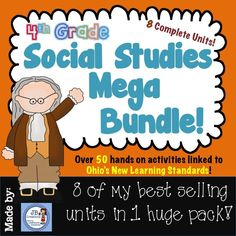 Simply a MUST HAVE resource for any 4th grade Ohio Social Studies teacher!  Students will be engaged in the new Learning Standards with over 50 hands-on activities including reader's theaters, games, projects, simulations, content vocabulary, assessments, and much more!  Save over 40% when purchasing this mega bundle as opposed to individually priced products!  Save time and $$…