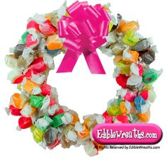 The Salt Water Taffy Candy Wreath is becoming our most popular, delicious candy… Monster Board, Taffy Candy, Salt Water Taffy, Candy Wreath, Next Gifts, Christmas Wreaths, Christmas Ornaments, How To Make Wreaths, Craft Gifts