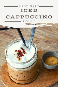 Cappuccino Recipe, Iced Cappuccino, Homemade Iced Coffee, Iced Coffee Drinks, Drinks Alcohol Recipes, Drink Recipes, Iced Capp Recipe, Breakfast Smoothie Recipes, Coffee Ice Cream