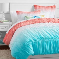 Surf Dip Dye Ruched Duvet Cover + Sham | PBteen  Sea themed bedding  I love the color and the pillows.
