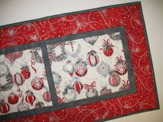 Christmas Table Runner Elegant quilted  by PicketFenceFabric