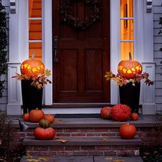 Pumpkins with carved foliage will cast a welcoming glow on your porch this Halloween. #Halloween #pumpkins