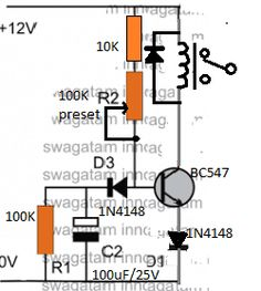 one transistor relay delay ON timer circuit Simple Electronics, Hobby Electronics, Electronics Projects, Electronic Circuit Design, Electronic Engineering, Electrical Engineering, First Transistor, Electrical Circuit Diagram, Simple Circuit