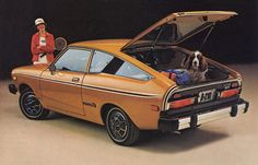 1977 Datsun B210. My high school car in baby poop gold. Had louvers on back window and in dash 8 track.