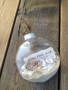 Keepsake Beach Christmas Ornament...the kids collected the shells and we grabbed sand on our last morning at the beach...we are now going to make one every year from our vacations