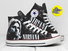 new styles aeb74 3e855 Nirvana custom converse sneakers painted Kurt Cobain  O