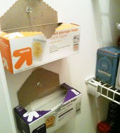 Pin zip and garbage bag boxes to the wall to save shelf space.