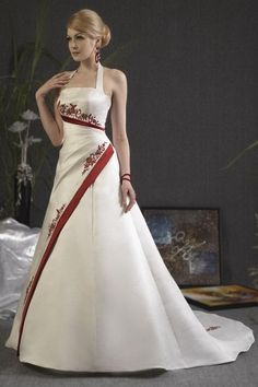 Red and white wedding dress A-line halter neck