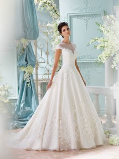 Beautiful David Tutera wedding dresses from the David Tutera for Mon Cheri Spring 2016 Bridal Collection. Mon Cheri Wedding Dresses, Wedding Dress Chiffon, 2016 Wedding Dresses, Princess Wedding Dresses, Designer Wedding Dresses, Bridal Dresses, Wedding Gowns, Lace Wedding, Gowns With Sleeves