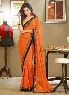Orange Georgette #Saree
