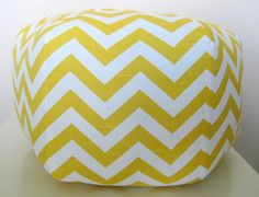 """Love this - so I nabbed two for the boys new playroom! 24"""" Ottoman Pouf Floor Pillow Yellow Chevron Zig Zag by aletafae"""
