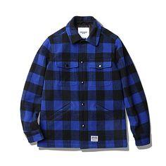 Enzo Big Block Padded C.P.O Jacket Black/Blue]