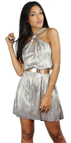 Gorgeous Grey-Gold Platted Metallic Shift Dress featuring Knotted at the Neck & Platted Metallic Fabric No Zipper Material: Polyester/ Spandex  Color: Grey-GoldModel is wearing a Small  Model Info: Height: 5'7 | Bust: 32 | Waist: 25 | Hip: 36 | Size Guide Product Code: 2708|2709|2710       FIT:  This garment fits true to size   BUST: No tFitted - Great for any cup size.   WAIST: Not Fitted -  Comfortable room throughout midsection.   HIPS: Not Fitted - Room for hips.  UNDER...