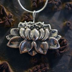 Medium Lotus Necklace in Sterling Silver « SilverBotanica – Handmade Jewelry designed by Alicia Hanson and Hi Octane Industries Inc.