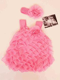 Cach Cach  2pc Baby Girl  Cascade Rufles Romper & headband