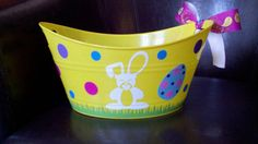 Personalized Yellow Plastic Easter Bucket by CuteandJazzyDesigns, $10.00
