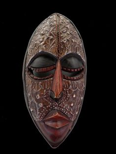 5aa4b6a76 Ghana African Wood Face Mask, Primitive Ceremonial Wall Art, Hand-Carved  Tribal Wall