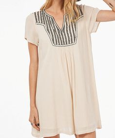 Loving this Taupe Embroidered Shift Dress on #zulily! #zulilyfinds