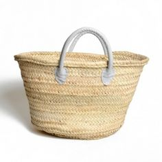 Shopper with grey leather handle, made in Maroc | Dille en Kamille