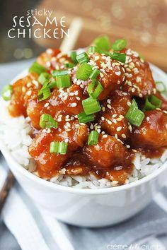 30 Minute Sticky Sesame Chicken - Creme de la Crumb http://lecremedelacrumb.com/2014/01/sticky-sesame-chicken-30-minutes.html