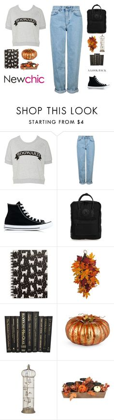 """""""#newchic I'm sure everyone wants to Hogwarts... AND WHERE is MY LETTER???"""" by holly-k15 ❤ liked on Polyvore featuring Topshop, Converse, Fjällräven, Tri-coastal Design, Improvements, chic, New and newchic"""