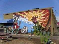 Street Art Mural: Tribute to Dia de los Muertos & the Southwest, Carly's Bistro, Phoenix, Arizona | par classic_film