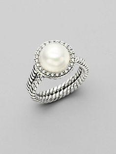 David Yurman White Pearl, Diamond love my ring! And david yurman! Jewelry Box, Jewelry Rings, Jewelry Accessories, Fashion Accessories, Fashion Jewelry, Jewlery, Jewelry Stores, Jewellery Supplies, Craft Jewelry