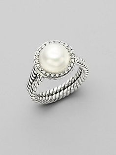 David Yurman White Pearl, Diamond & Sterling Silver Ring