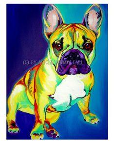 Colorful Pet Portrait French Bulldog Art Frenchie by dawgpainter