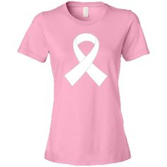 White Awareness Ribbon Women's T-Shirt you can personalized with a name, support message or walk date for  scoliosis, diabetes, innocence, hypoglycemia, blindness. $22.99