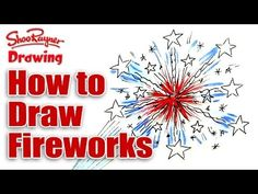 How to draw fireworks for kids! Independence Day - of July Fireworks For Kids, How To Draw Fireworks, 4th Of July Fireworks, Fourth Of July, Chalk Drawings, Cartoon Drawings, Easy Drawings, Scary Halloween Drawings, Drawing For Kids