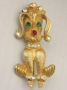 Vintage Figural Dog/Poodle Fru Fru Brooch w/ Rhinestones #unbr