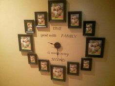 Love this idea with family photos. Get the clock and lettering from Uppercase Living! http://lizmyers.uppercaseliving.net