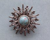 Vintage Star Shaped Pin / Brooch - Blue Coral Stone Silver Tone Hardware