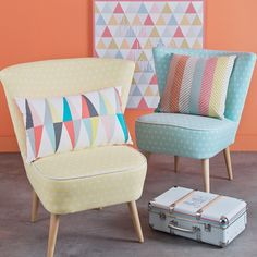 #enjoy the #little #things #patterned #suitcase #scandinave #cotton #vintage #armchair #sea #green #yellow #cushion #homedecor #homeideas #mymdm #maisonsdumonde