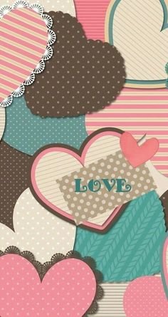 Patchwork Hearts Wallpaper