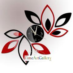 Decoração da casa! Folhas preto & vermelho espelhado relógio de parede design moderno, 3d relógio de parede sala de estar, presentes originais, frete grátis! F21 $20.50