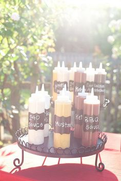 Great idea for my bbq reception. Will probably just write with a black marker the sauce name.