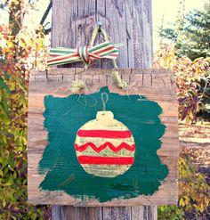 CHRISTMAS ORNAMENT Barn Wood Sign HOLIDAYS Green by JunkWorxxEtc,