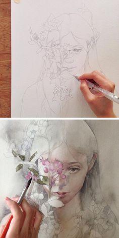 Женская красота и эстетика, реалистичные цветы, трепетные олени и хищные звери, прозрачность красок и фактура бумаги — всё это есть в работах талантливого иллюстратора из Филиппин Valerie Ann Chua, с творчеством которой мне хотелось бы вас познакомить. «Меня вдохновляют традиционные народные искусства Юго-Восточной Азии, а также сюжеты и образы из литературы магического реализма», — признается молодая художница.